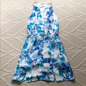 Blue and white Parker mini party dress